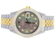 Rolex 18K/ Steel Datejust Two Tone 36MM 16013 Dark MOP Dial Diamond Watch 3.0 Ct