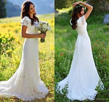 Country Style Boho Wedding Dress Short Sleeve V-neck A-line Modest Bridal Gown