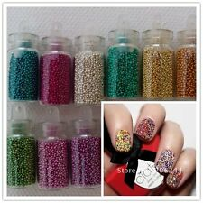 lot 12 Fioles Caviar Nail Art Décoration ongle Manucure Micro Billes Gel Uv 2016