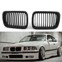 1 Pair Matte Black Front Hood Kidney Grill Grille For BMW 3 Series E36 M3 97-99
