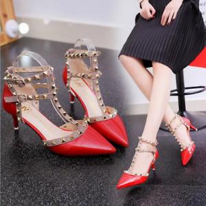Women's pointed toe kitten heel studded T-strap sandals fashion sandals