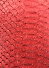 Vinyl Fabric Red Faux Viper Snake Skin Leather Upholstery 3D Scales By The Yard