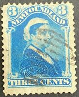 Canada Newfoundland 1873 QV 3 Cent Blue #34 F Used ST28
