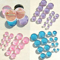 1 Pair Glitter Acrylic Saddle Flared Tunnels Ear Plugs Expander Stretcher Gauges