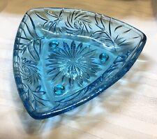 Vintage Hazel Atlas Capri Aqua Blue Glass Triangular Footed Candy Dish