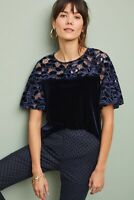 NWT Anthropologie Eva Franco Blue Thalia Velvet Floral Lace Blouse Top XS