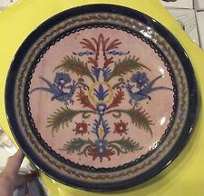 Ancien Grand Plat Décoratif Grec Floral Vintage 1970
