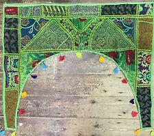 Indio Verde Ménsula Puerta Tapiz Toran Patchwork Boho Borlas