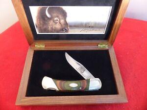 """Bear MGC USA 5"""" Bison/BuffaloLockback Lock Blade Knife MINT IN Walnut box"""