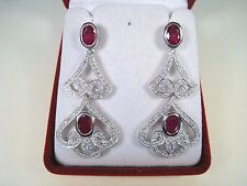 RUBY & WHITE SAPPHIRE EARRINGS 6.67 CTW - WHITE GOLD over 925 STERLING SILVER