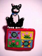 Cat Sitting On Quilt Hand Painted Artist Signed Handmade Pin Black & White Kitty