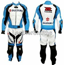 MOTORCYCLE SUZUKI LEATHER TRACK RACING SUIT-CE APPROVED PROTECTOR-ALL SIZES
