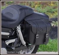 Sacoche cavaliére en Cuir Tete de Mort SKULL - moto custom harley shadow virago