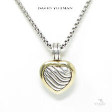NYJEWEL David Yurman 925 Silver 18K Heart Locket Enhancer Pendant Necklace