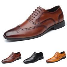 Men Brogue Low Top Leisure Leather Shoes Dress Formal Business Oxfords Wedding L