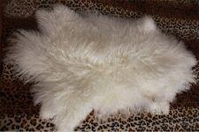 Real Mongolian Fur Rug Throw Tibetan Lambskin Fur Hide Pelt Curly Hair Carpet