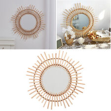Wooden Rattan Mirror Wall Hanging Mirror Handmade Natural Home Office Decoration