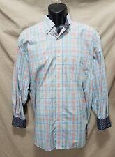 Alan Flusser Button Down Front Plaid Long Sleeve Shirt Size Large