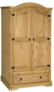 Corona 2 Door 1 Drawer Arched Top Double Wardrobe - Mexican Solid Pine, Rustic