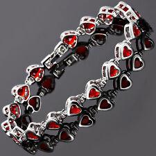 Xmas Women Gift Jewelry Fashion Jewelry Red Ruby White Gold Gp Tennis Bracelet