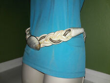 Vintage Elegant Rope Shell Metal Belt Womens White Tan Olive Braided