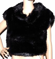 New $398 Anne Klein Cropped Pullover Faux Fur bolero Shrug Jacket Black M