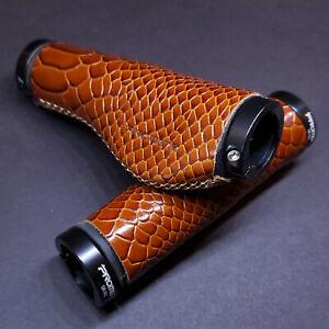 😀 1 Pair Leather Vintage Bicycle Handlebar Grip Lock-On ergo Brown/Reptile Bike