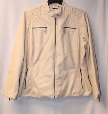 NEW WOMENS PLUS SIZE 3X FAUX LEATHER FLAX BEIGE COLOR MOTO MOTORCYCLE JACKET