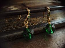 Vintage Emerald Green Faceted Glass Drop & Emerald Crystal Hook. Pierced