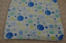 Swiggles Sport Baby Blanket Star Football Basketball Soccer Ball White Blue