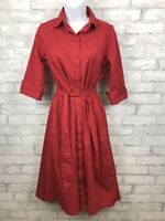 Lands End Red Shirt Dress Button Down Collared Belted Cuff Sleeve Women Size 4