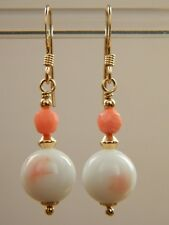 Vintage ANGEL SKIN CORAL White & Pink Blush Beads,14K Rolled Gold Drop Earrings