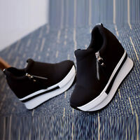 Botines de mujer Hidden Tacón Cuña Zapatillas High Top Cremallera Zapatos Talla