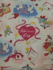 Fashion Scrubs Top Medium Valentine's Love Heart Cupid Doves Arrow Clouds