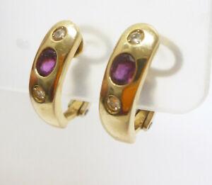 Klapp-Creolen mit Rubin und Diamanten 585 Gold 14 Karat Gelbgold - 507-7#