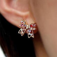 Hot Women Girls Bow Design Gold Crystal Rhinestone Ear Stud Earrings Fashion
