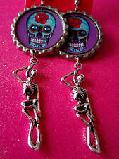 Day Of The Dead Sugar Skull With Skeleton Dangle Charm Earrings #14