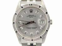 Mens Rolex Date Stainless Steel Watch Sapphire Crystal Silver Diamond Dial 15210