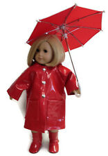 Red Rain Coat, Boots, & Umbrella made for 18 inch American Girl Doll Clothes