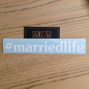 MARRIED LIFE CAR STICKER For Husband Wife Celebrant iPad Made In Australia!