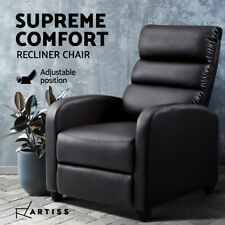 Artiss Recliner Chair Chairs Lounge Armchair Sofa Leather Cover Brown Luxury