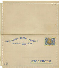 Sweden Stockholm Local Post 1888 Postal Card (Letter Card) Facit H5 Mint, Type I