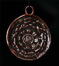 ancient old tibetan bronze necklace pendant zodiac amulet antique buddhism tibet