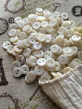50 Vintage Mother of Pearl Buttons 14mm 2-hole White New old Warehouse Stock