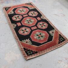 "Vintage CHUNKY Wool Multicoloured Floor Rug Carpet Runner RETRO 68"" x 34""- 232"