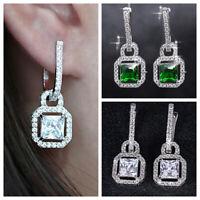 Gorgeous 925 Silver Drop Earrings for Women Emerald,White Sapphire A Pair/set