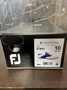 FootJoy Traditions Golf Shoes Size 10 White/Navy 3471