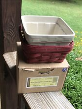 Longaberger Square Berry Bowl Ivory Pottery Ships + Small Red Berry Basket