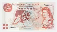 Isle of Man 20 Pounds 2000 P45a GEM UNC Queen Elizabeth Currency Prefix F SERIAL