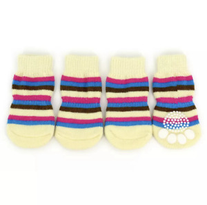 4pcs Non-Slip Dog Socks Cotton Knitted Paw Print Pet Cat Puppy Dogs
